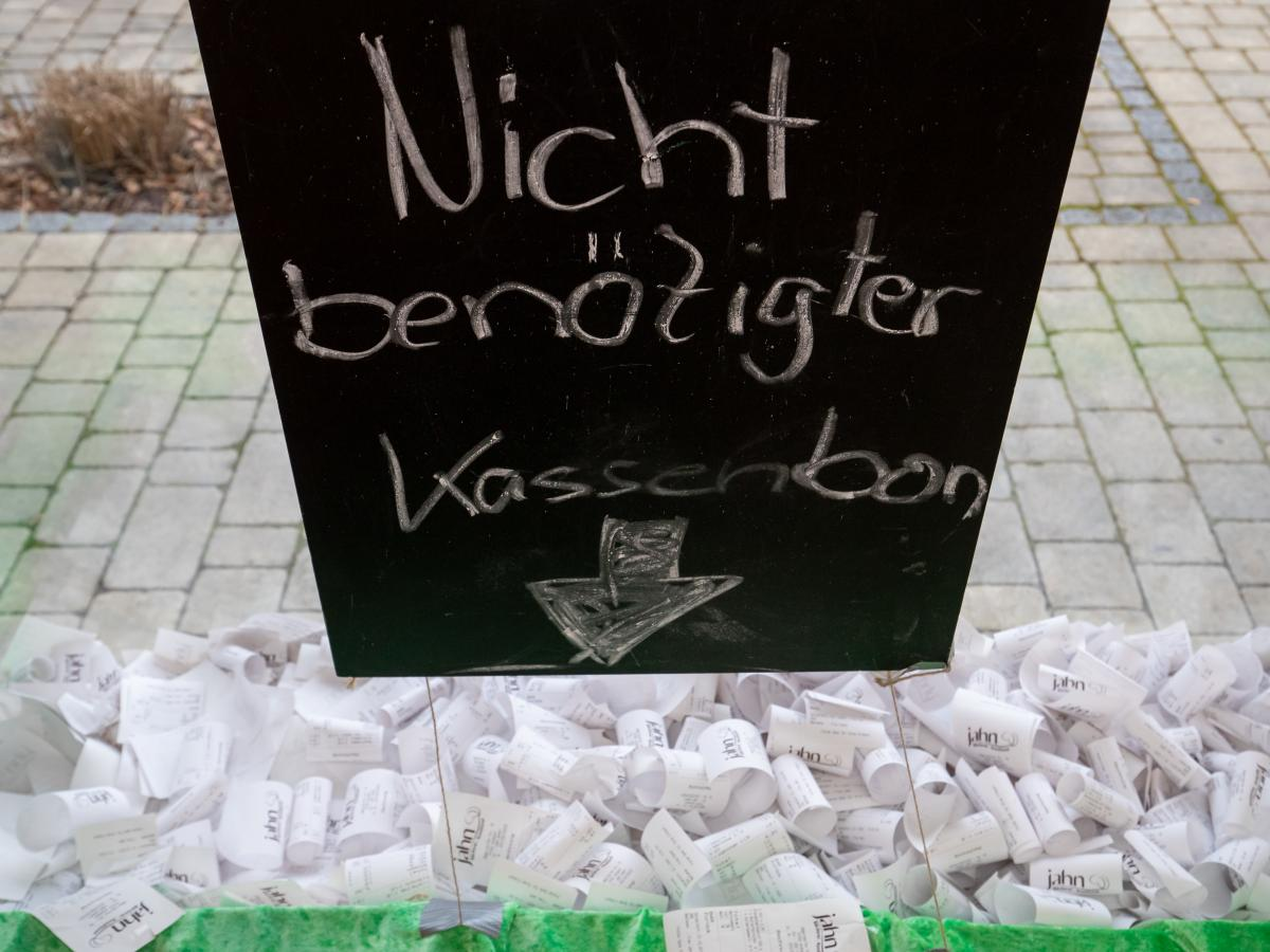 """A bakery in Ansbach, Bavaria, collected receipts in the window last month to register its opposition to the law. The sign says """"receipt not required."""""""