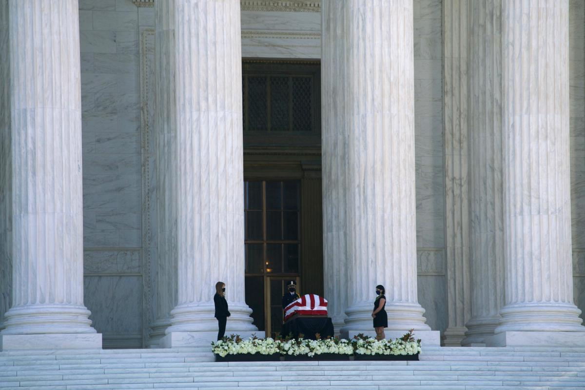 Justice Ruth Bader Ginsburg lies in repose in front of the U.S. Supreme Court.