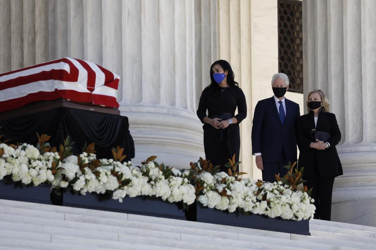 Former President Bill Clinton and former Secretary of State and Senator Hillary Clinton pay their respects for Associate Justice Ruth Bader Ginsburg.