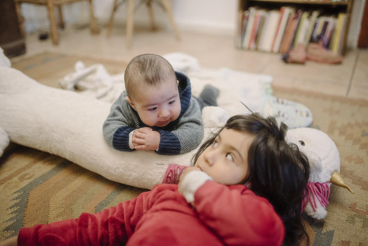 """Paz Olivares-Droguett made this picture on the day that marked 3 months of confinement to home: """"The relationship between Amadeo and Eleonora, our firstborn, has been growing — and they are, too."""" June 2. Valparaíso, Chile."""