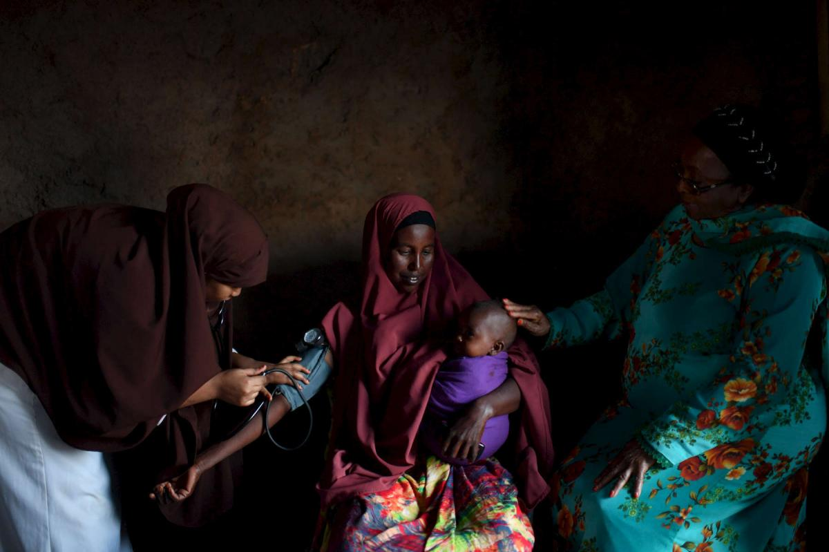 """""""This is part of Dr. Edna Ismail's team doing outreach in a remote village in Somaliland,"""" Lynsey Addario says. """"They do a similar thing like in Afghanistan, where they make an announcement for any pregnant and lactating women to come for a prenatal check"""
