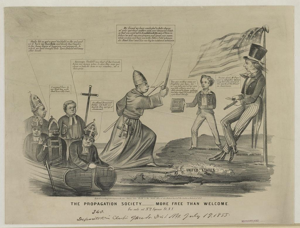 This cartoon, published around 1855, reflects the pervasive anti-Catholic sentiment of the era — perhaps best epitomized by the rise of the Know-Nothings, a nativist political party. Here, Catholics, led by the pope, are depicted as an invading force of