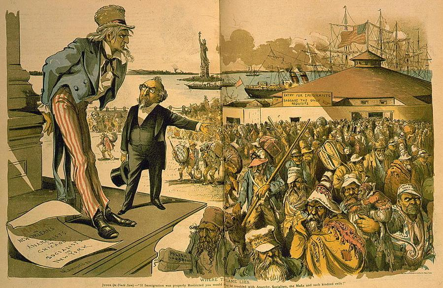 """A cartoon, published in 1891, titled """"Where the Blame Lies."""" In it, a man gestures toward a crowd of immigrants — including the """"German socialist,"""" """"Italian brigand,"""" """"English convict,"""" etc. The gesturing man tells a sagging Uncle Sam: """"If Immigration w"""