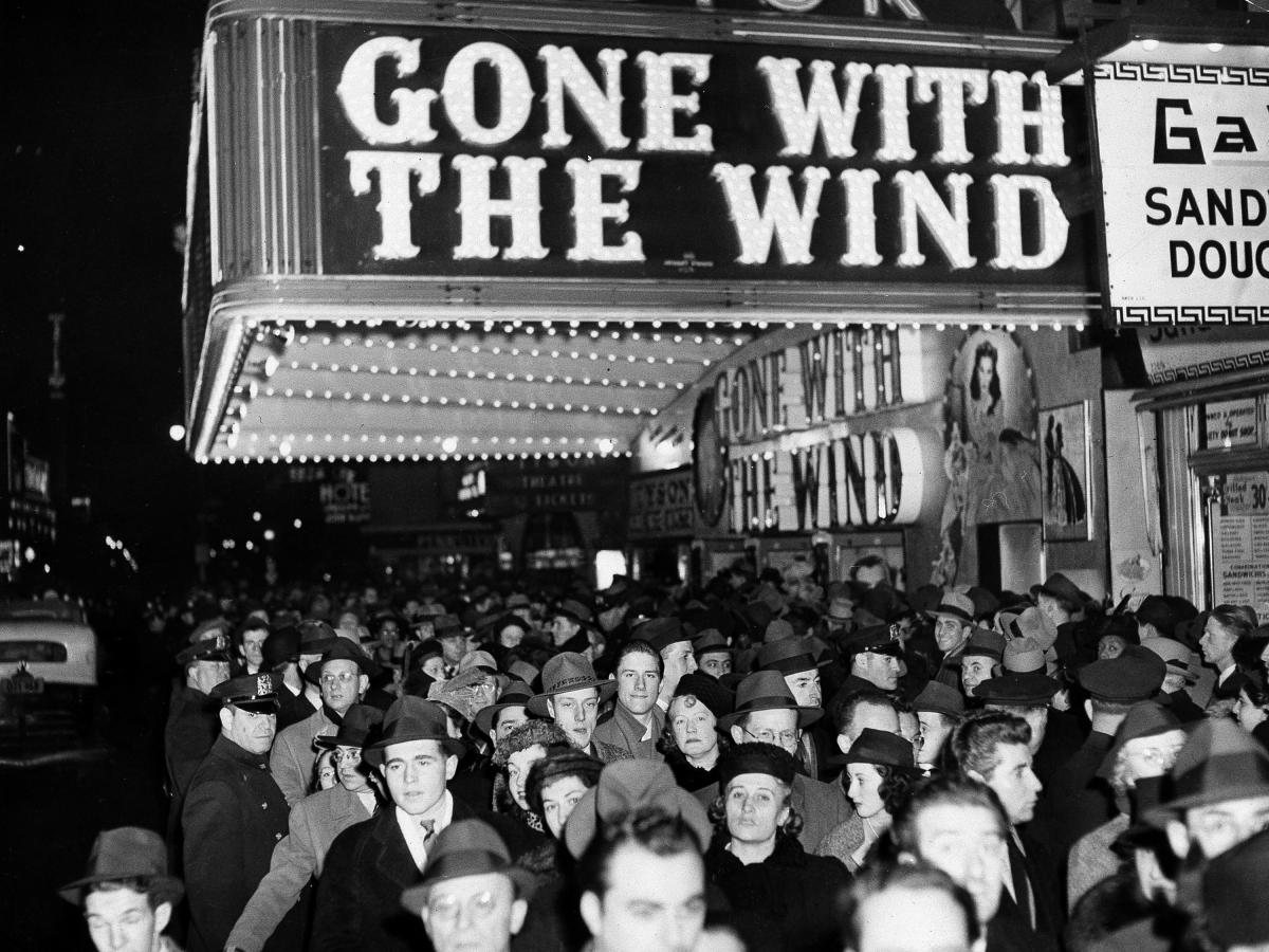 The New York premiere of Gone With the Wind on Dec. 19, 1939, in the Astor Theater on Broadway.