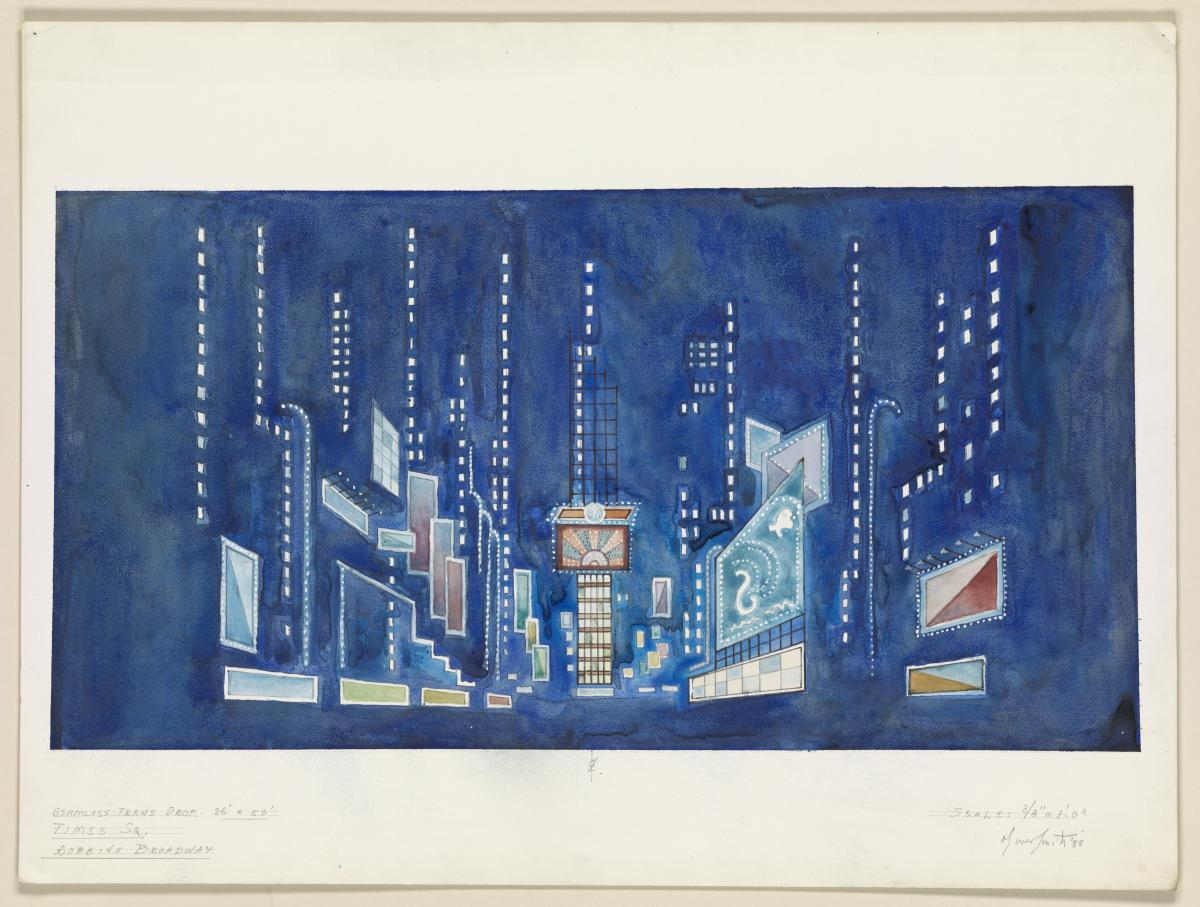 Oliver Smith's scenic design for Jerome Robbins' Broadway. Watercolor and pen and ink drawing.
