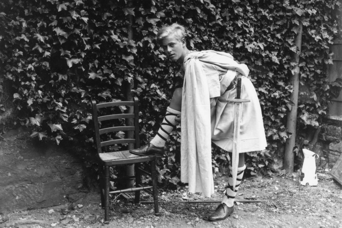 Prince Philip of Greece dressed for the Gordonstoun School's production of Macbeth, in Scotland in 1935.