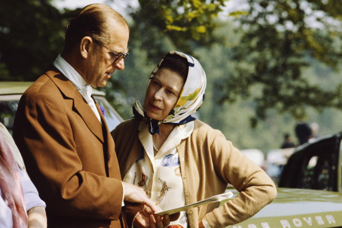 Philip and Elizabeth chat during the Royal Windsor Horse Show in 1982.