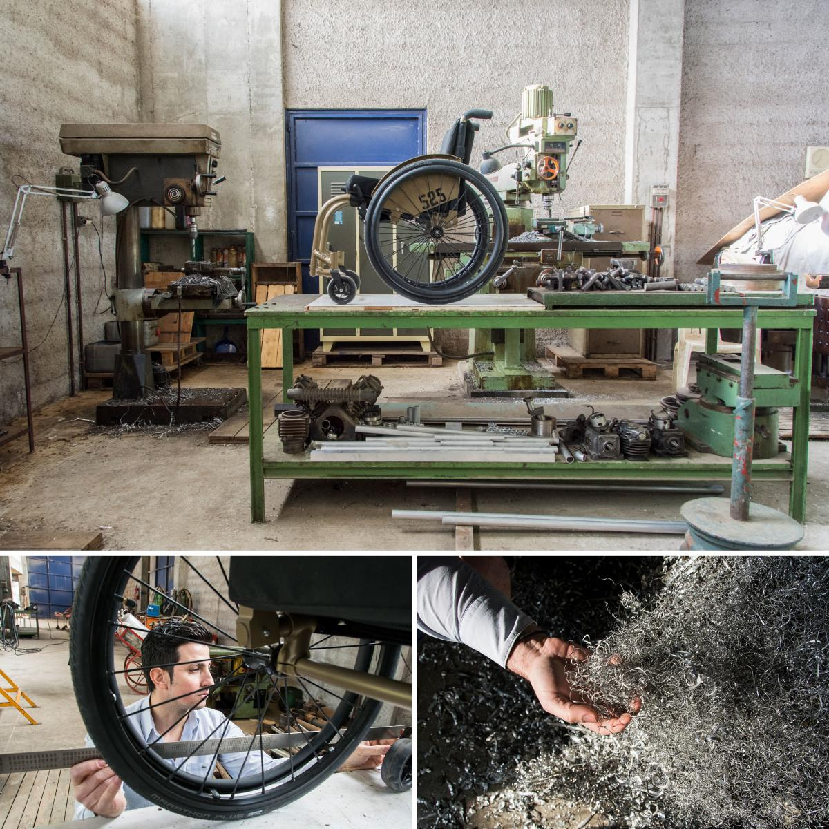 Top: A completed wheelchair sits on a bench at the 525 Handmade Wheelchairs factory in Markopoulo, about 20 miles outside of Athens. Left: Faidros Panagopoulos, owner of 525 Handmade Wheelchairs, measures the length of the wheelchair to see if everything