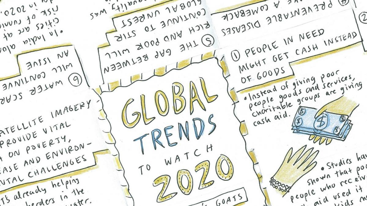 Our global predictions for 2020 come with a zine — or mini-magazine — you can make yourself. Scroll to the slideshow below to find out how to print and fold this zine.