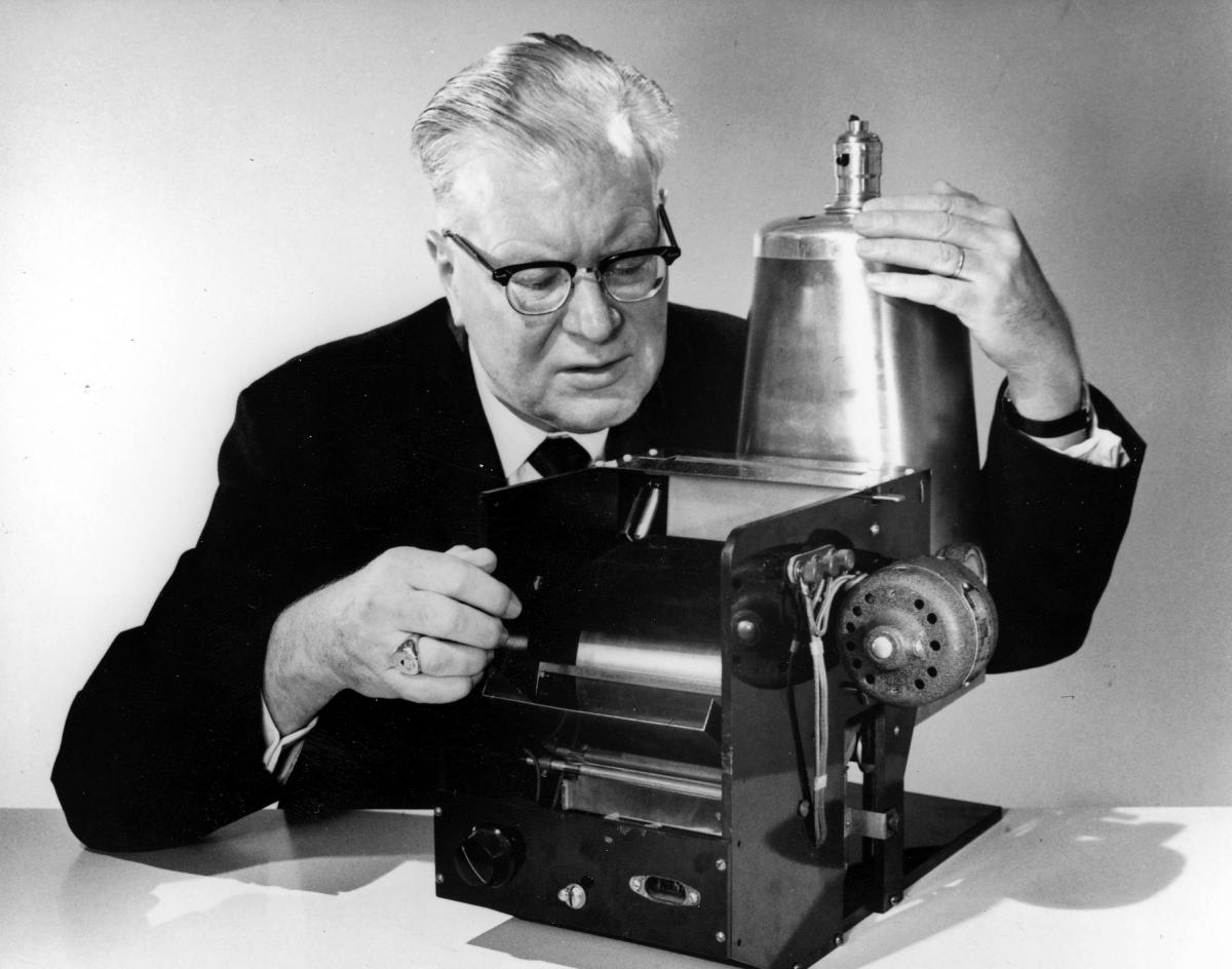 Chester Carlson demonstrates his original copying process in 1963.