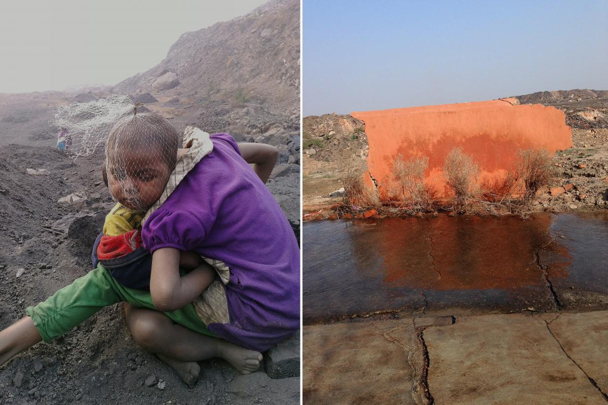 "Left: Two children sit in the cold of Jharia, waiting for their parents to return from work. A plastic net covers the head of the younger child. ""They had been playing with trash,"" photographer Ronny Sen says. Their parents are illegal coal pickers whose"