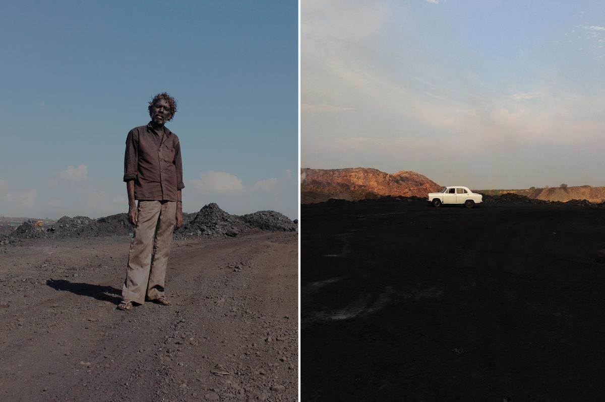 "Left: A contractual laborer at one of the coal mines in Jharia. ""I'm trying to show the worker in a powerful way,"" says photographer Ronny Sen. Right: A white Ambassador car, which Sen calls ""the symbol of Indian bureaucracy,"" is a signal to illegal coal"