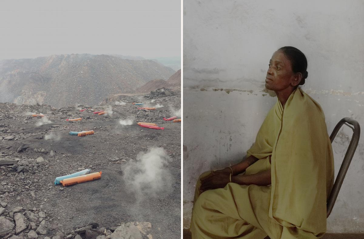 Left: Dynamite, used to break up rock for excavation, is scattered across the Jharia coalfield. Smoke rises from underground fires. Right: A woman sits in a broken chair outside of a mine official's office. She was hired as an office assistant after her h