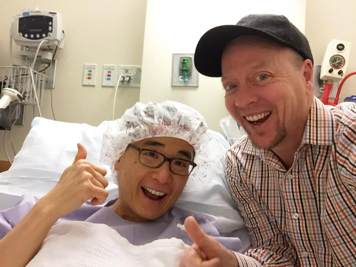 Yee Won Chong (left) was diagnosed with stage 2 breast cancer, and in a strange coincidence his roommate, Brooks Nelson (right), discovered he had ovarian cancer.