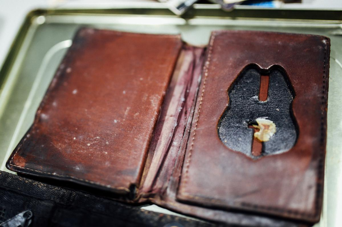 A leather case that housed Richard Guadagno's credentials with the U.S. Fish and Wildlife Service was found in October 2001.