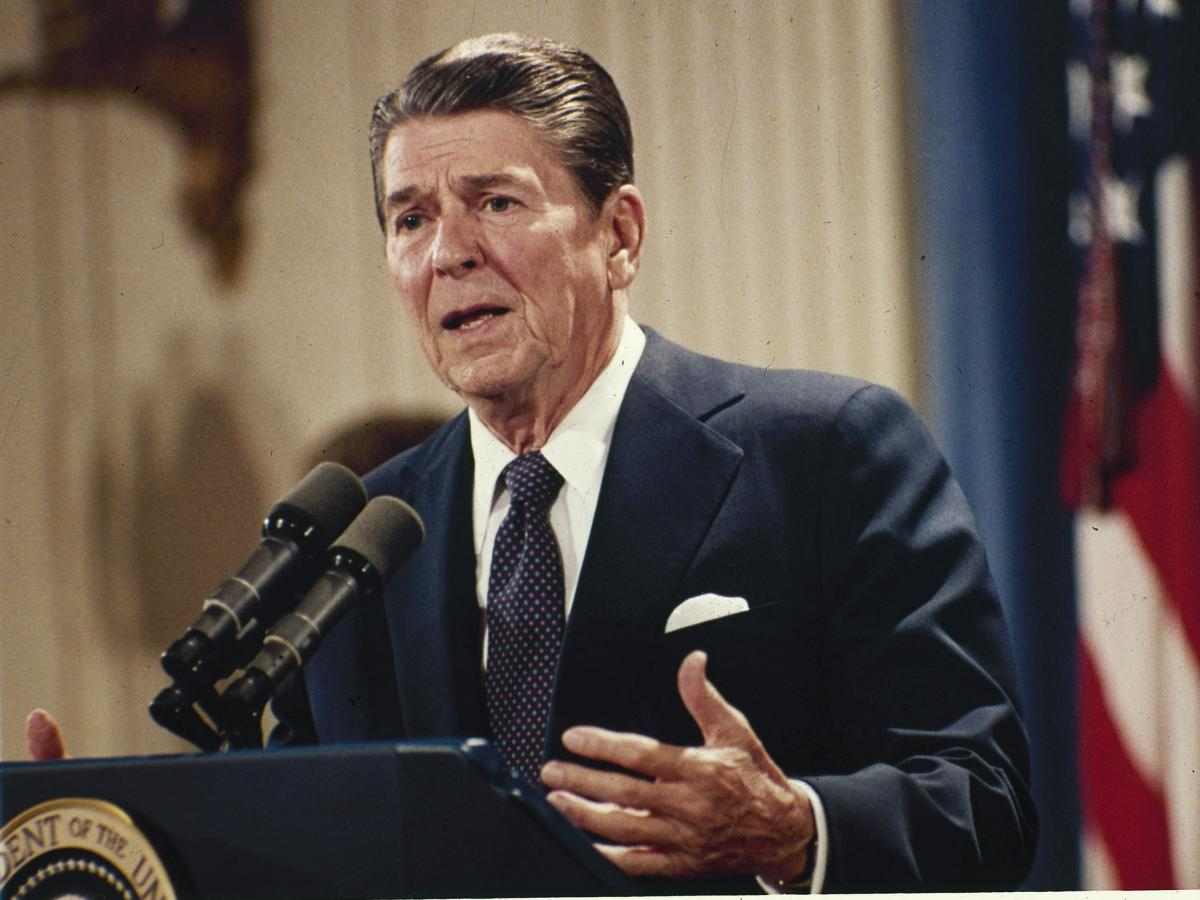 President Ronald Reagan answers questions at a news conference at the White House in 1983.