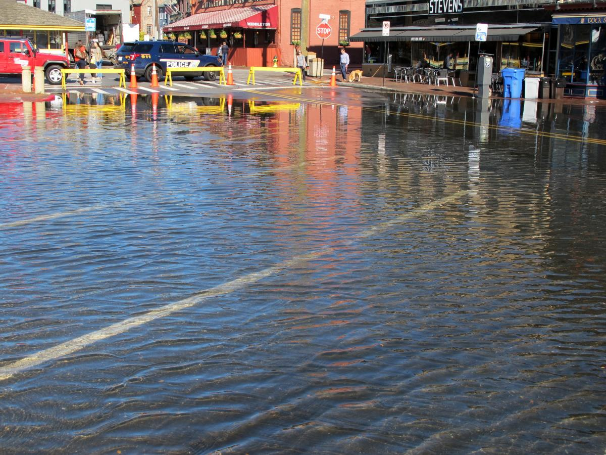 Police closed Dock Street in downtown Annapolis, Md., in 2017 after ocean water flooded in during a high tide.
