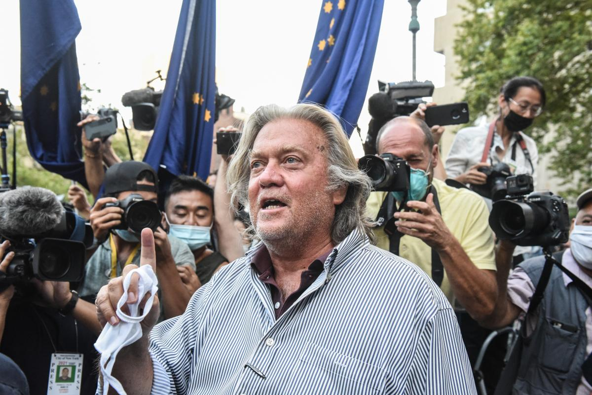 Former White House Chief Strategist Steve Bannon exits the Manhattan Federal Court on Aug. 20, in New York City. Bannon and three other defendants have been indicted for allegedly defrauding donors in a $25 million border wall fundraising campaign.
