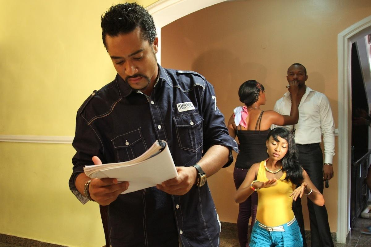 Actor Majid Michel on the set of the Nollywood film Brother's Keeper with co-star Belinda Effah.