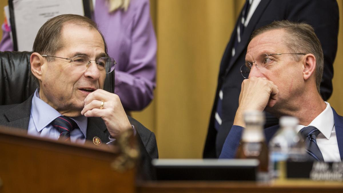 House Judiciary Committee Chairman Jerry Nadler, D-N.Y., speaks to the committee's ranking member, Doug Collins, R-Ga., at a hearing on April 9. Collins argues that Democrats are overstepping by pursuing lawsuits on Mueller report material.