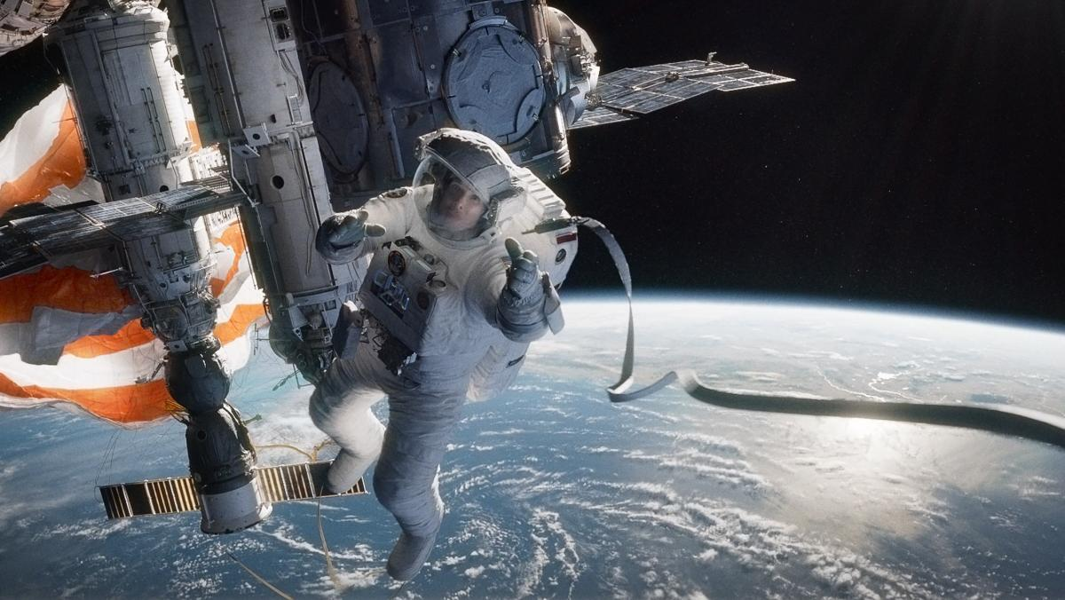 In Alfonso Cuaron's Gravity, Sandra Bullock plays Ryan Stone, an astronaut careening through space after an accident.