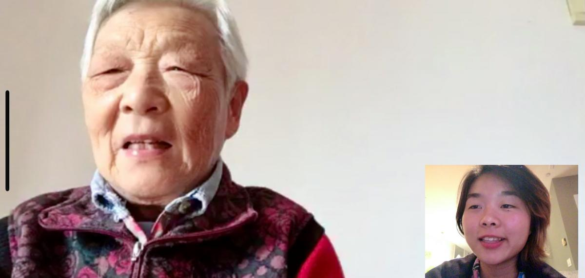 Screen grab of a video chat between Laura Gao (right) and her grandmother Zhou Nai.