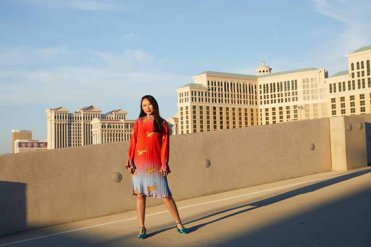 Writer Sally Wen Mao poses for a portrait on the roof of her apartment building in Las Vegas.
