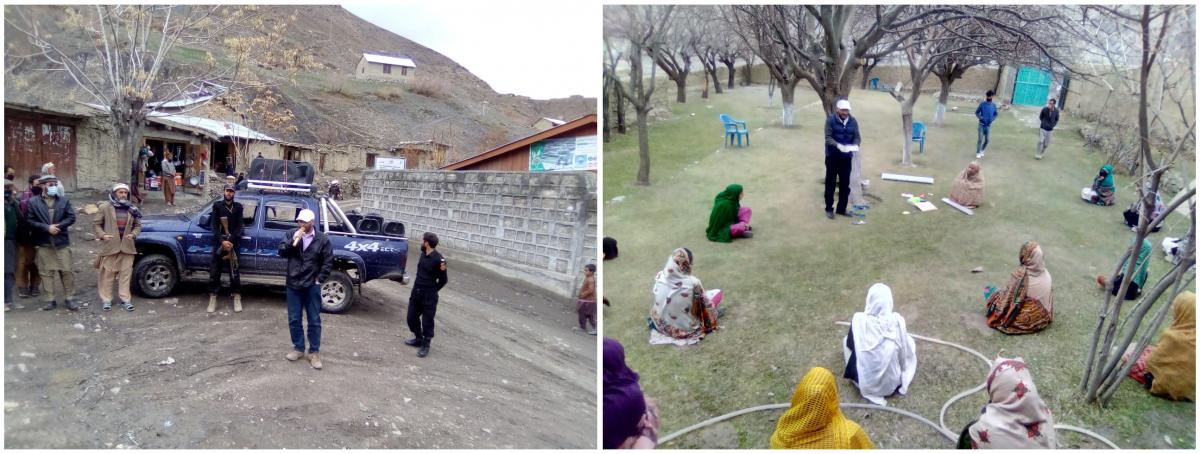Left: Rehmat Ali Dost makes an announcement at the village of Kushum in the Upper Chitral district of Pakistan. Right: Using a loudspeaker, Dost shares information about COVID-19 in the village of Rech Torkhow.