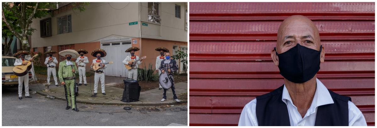 Left: Antonio Cartagena, an accordion player in a mariachi group meets his bandmates on the street in Medelli­n, Colombia. Right: Since lockdown, the band has been going out to busk in different neighborhoods.