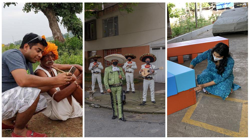 Left: Tech entrepreneur Ruchit Garg is helping farmers connect to customers in India. Center: A mariachi band brings music and joy to the streets of Colombia during lockdown. Right: Designer Rhea Shah created an affordable cardboard bed for health facilit