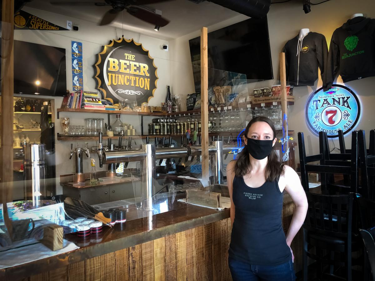 The pandemic is taxing the nation's bar owners such as Allison Herzog, who runs The Beer Junction in Seattle. After shutting down indoor service in the spring, Herzog was finally able to reopen this summer. Within a month, the coronavirus was spreading ag