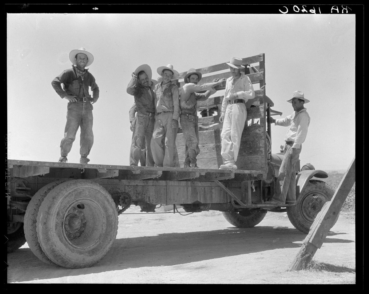 """""""Off for the melon fields (Mexican labor)."""" Imperial Valley, Calif. 1935"""