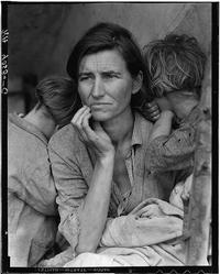 """Lange's iconic photograph of Florence Owens Thompson, often referred to as """"Migrant Mother."""" It was taken at a camp full of destitute pea pickers in Nipomo, Calif., in 1936."""