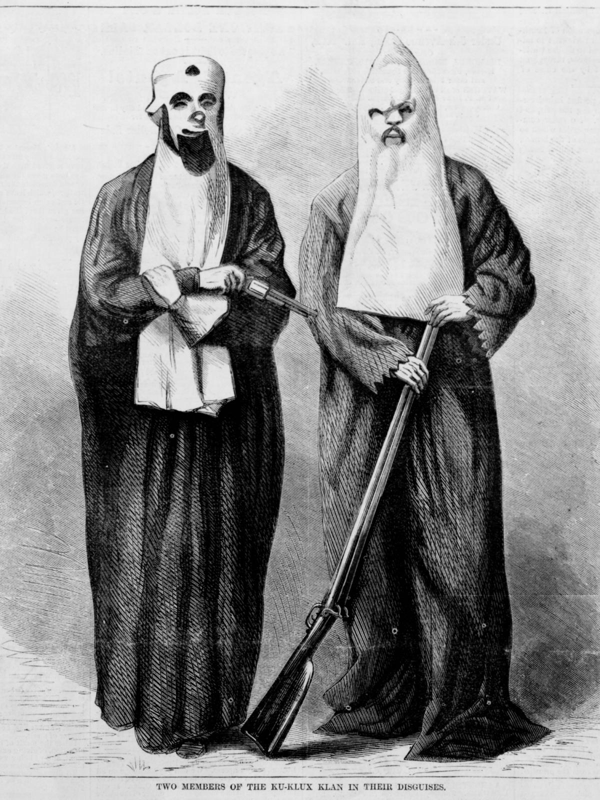 This drawing from 1868 depicts early members of the Ku Klux Klan. Historians have documented how the group used absurdity to mock its opponents and to try to mask the seriousness of the KKK's atrocities.