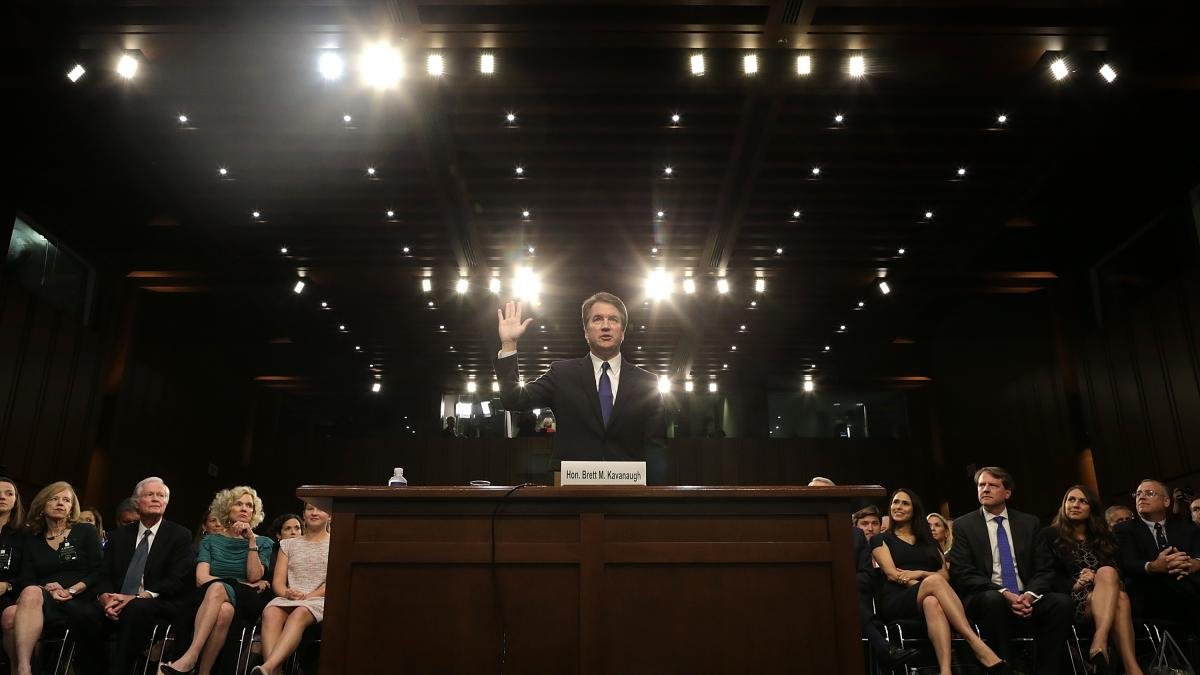 Brett Kavanaugh, seen getting sworn in before a confirmation hearing early last month.