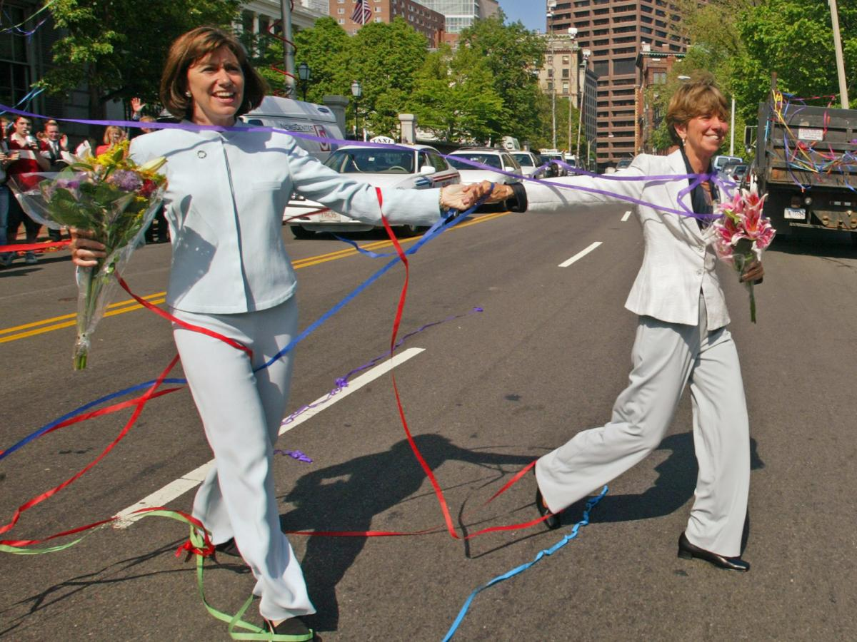 Julie Goodridge (left) and Hillary Goodridge were the face of the movement to legalize same-sex marriage in Massachusetts. They got married on May 17, 2004, just hours after that state became the first in America to allow same-sex marriage.