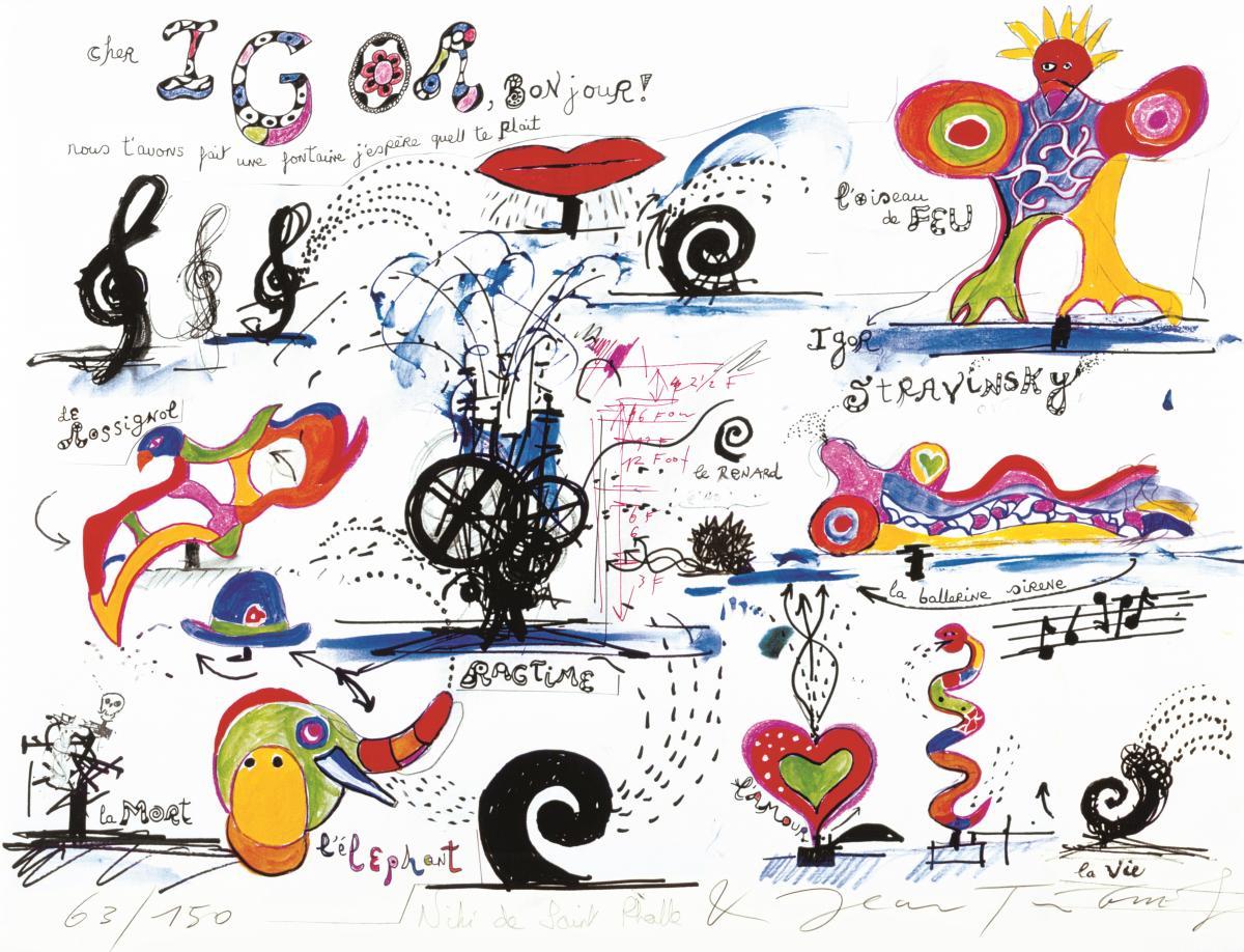 Niki de Saint Phalle, Cher Igor, 1983, lithograph