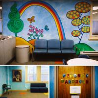 Top: The waiting room inside Wynona's House Child Advocacy Center in Newark. The center assists children and adults with intellectual disabilities who are victims of abuse. Left: A photograph of Sen. Wynona Lipman, for whom the Wynona Lipman Child Advocac