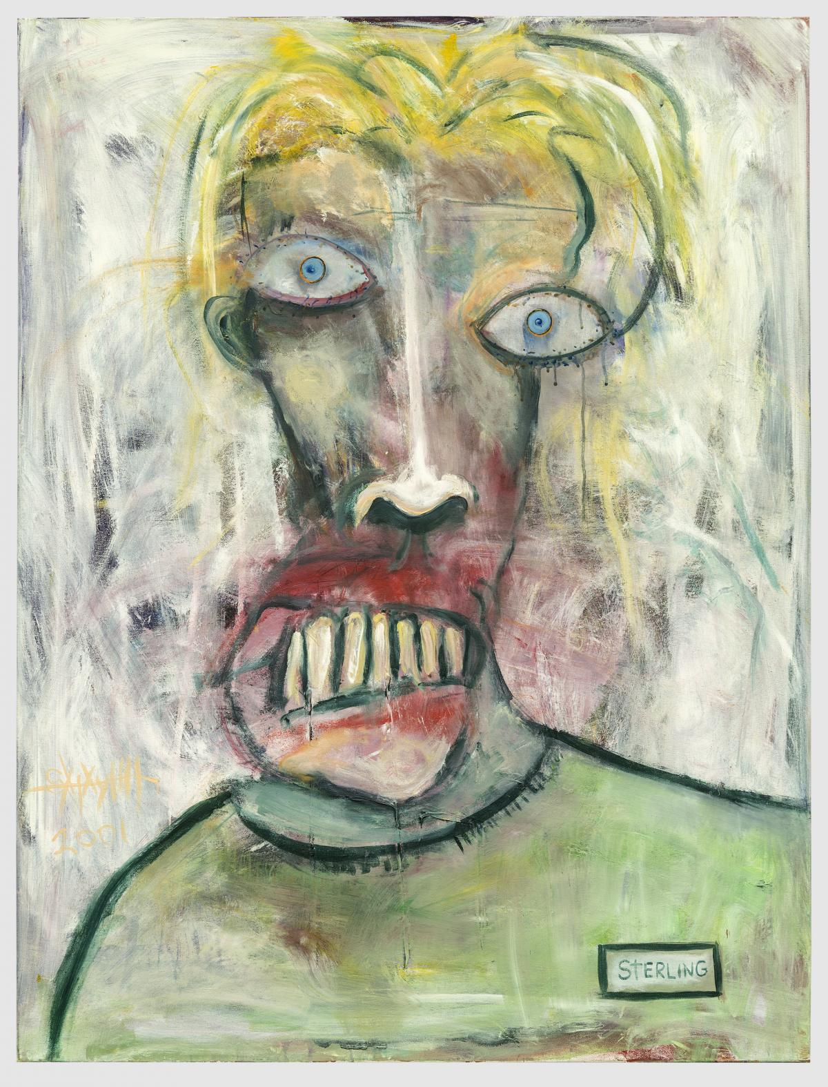"""Self Portrait, Green Shirt by Sterling Witt. This is one of a series of """"disturbing self portraits"""" Witt created in his early 20s, when he was in a lot of pain."""