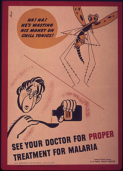 Mosquitoes transmit the malaria parasite, but when people aren't treated, they help the disease to spread. This public health poster, which was also printed by the U.S. Public Health Services during World War II, was aimed at stopping malaria on the homef