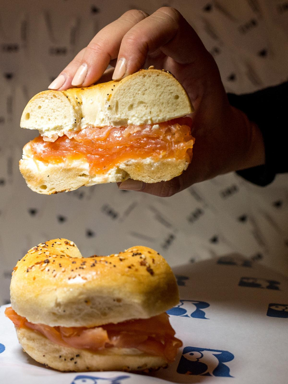 "Bagels and lox from New York-based ""appetizing shop"" Russ & Daughters. ""Especially when people aren't engaging in other parts of the practice, bagels and lox get elevated to something ritually symbolic. It's a lot of power to put on a bagel,"" says Leah Ko"