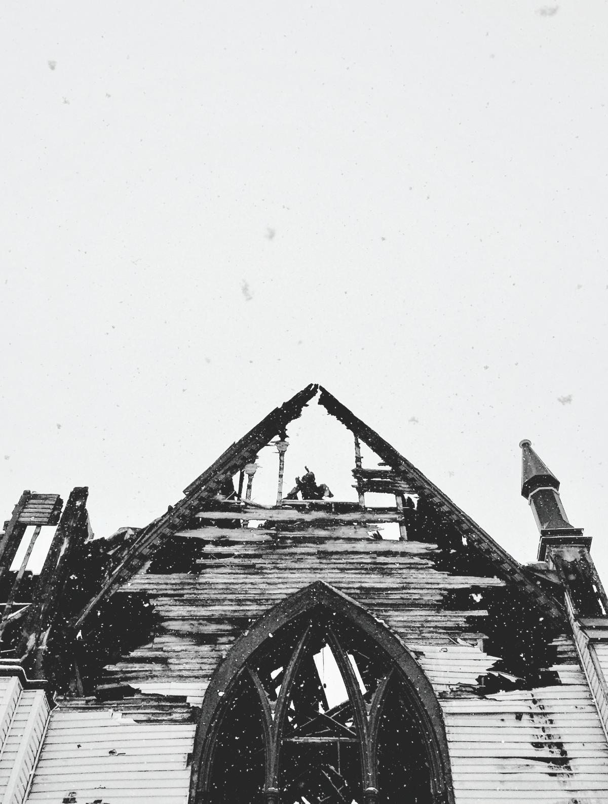 A torched church. Location unspecified.