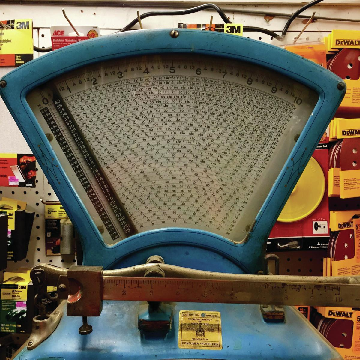 Sharlet took this photo of a scale at his local hardware store while buying his daughter Play-Doh.