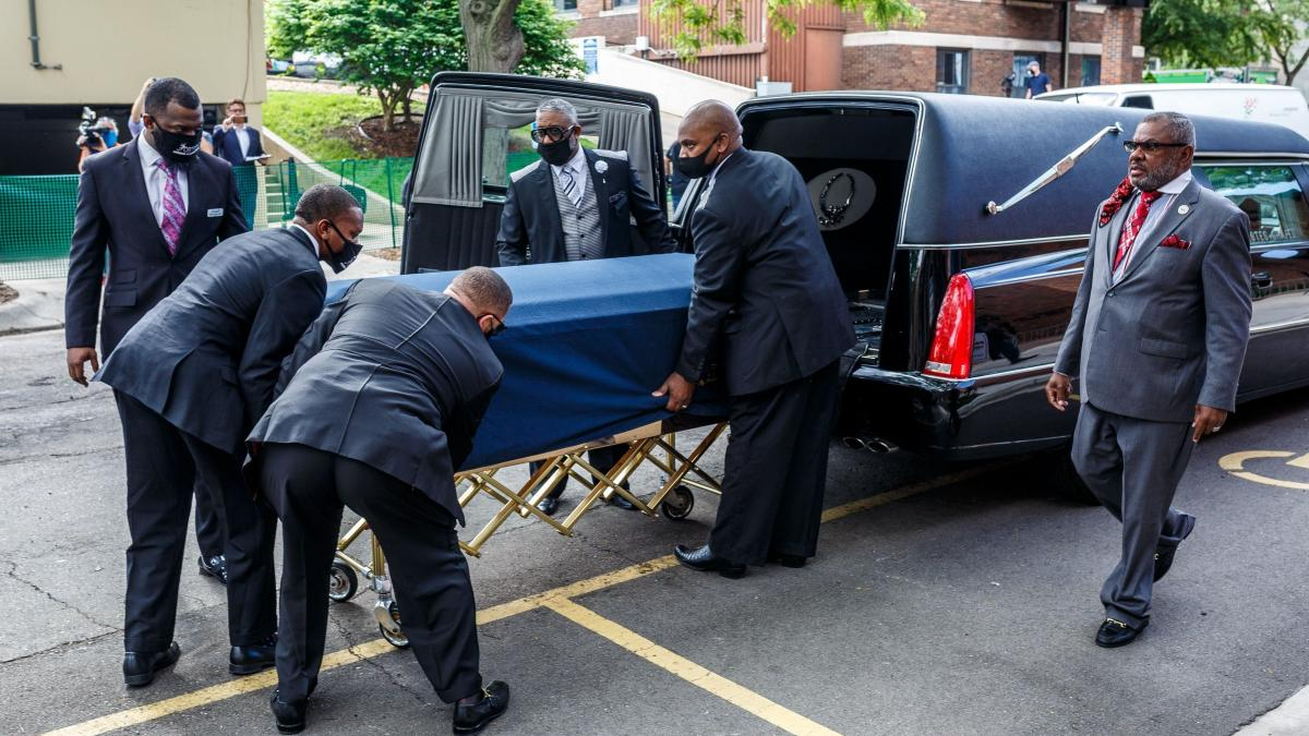The remains of George Floyd are taken to a memorial service in his honor on June 4 in Minneapolis, Minnesota. On May 25, Floyd, a 46-year-old black man suspected of passing a counterfeit $20 bill, died in Minneapolis after Derek Chauvin, a white police of