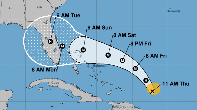 """Hurricane Dorian is likely to make landfall on Labor Day — but its winds and rain will arrive hours earlier. The National Hurricane Center says the """"risk of devastating hurricane-force winds along the Florida east coast and peninsula late this weekend a"""