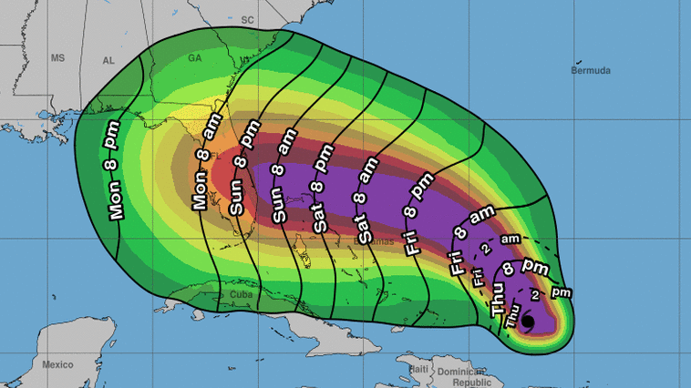 The National Hurricane Center says the first tropical storm-force winds are most likely to start arriving at the Florida coast on Sunday — but the agency notes that those winds could come as early as Saturday night.