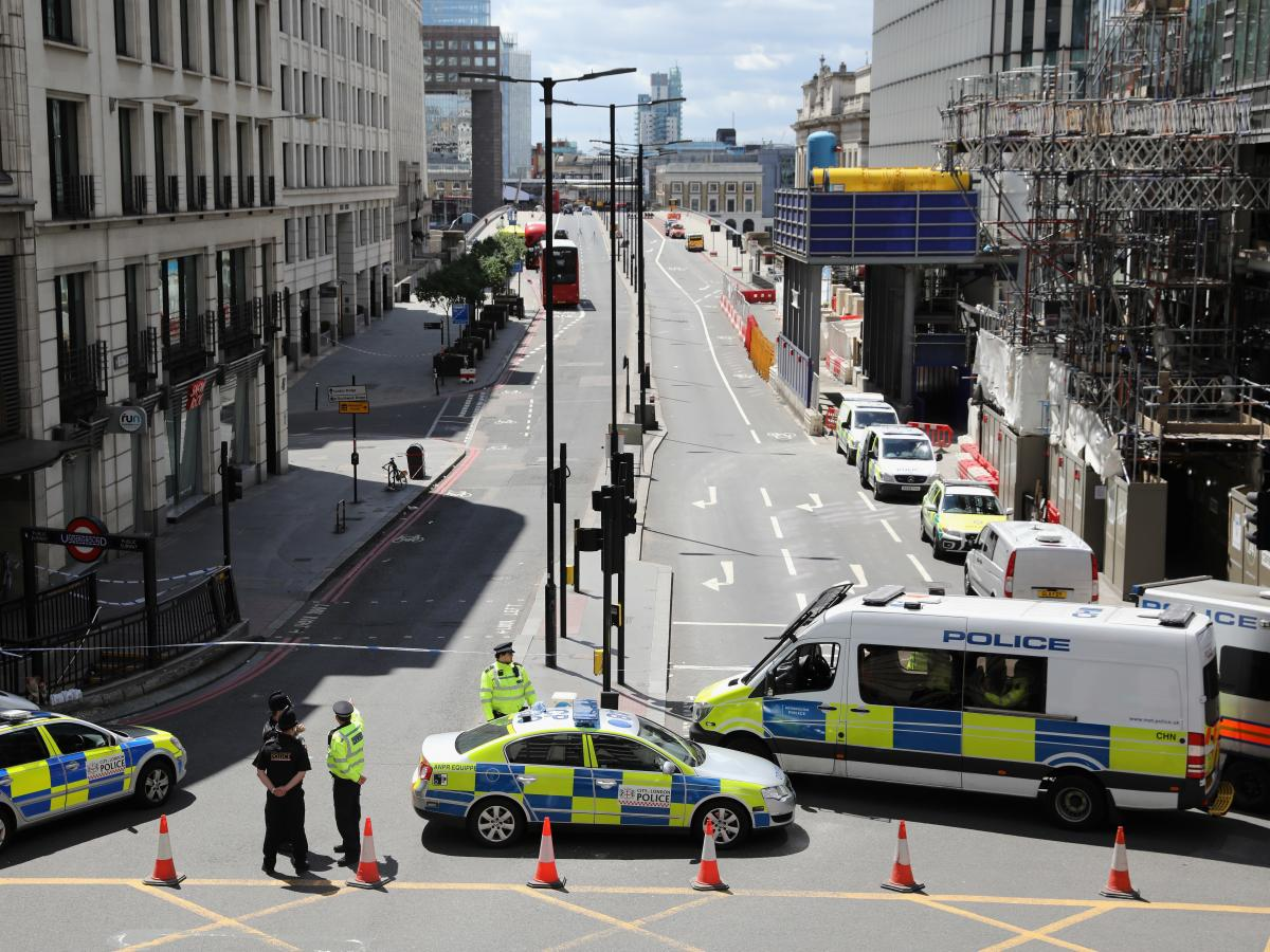 Police operate a cordon on the north side of London Bridge on Sunday.
