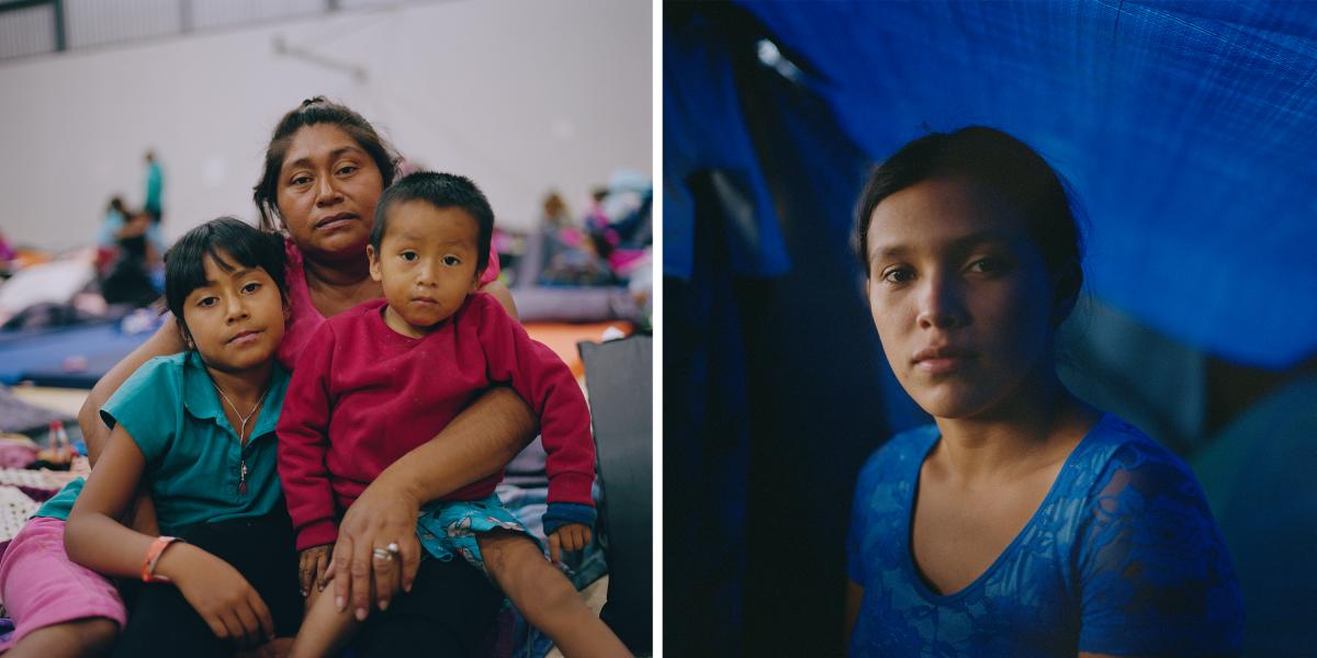 "(Left) Maria Luisa Vasquez, 36, holds her children Brittany, 6, and César, 2. They are from Guatemala. (Right) Funny Gabriela Regalado, 20, is from Honduras. ""I felt very scared to report this [abuse], because at the time he had some link to a [gang]; I"