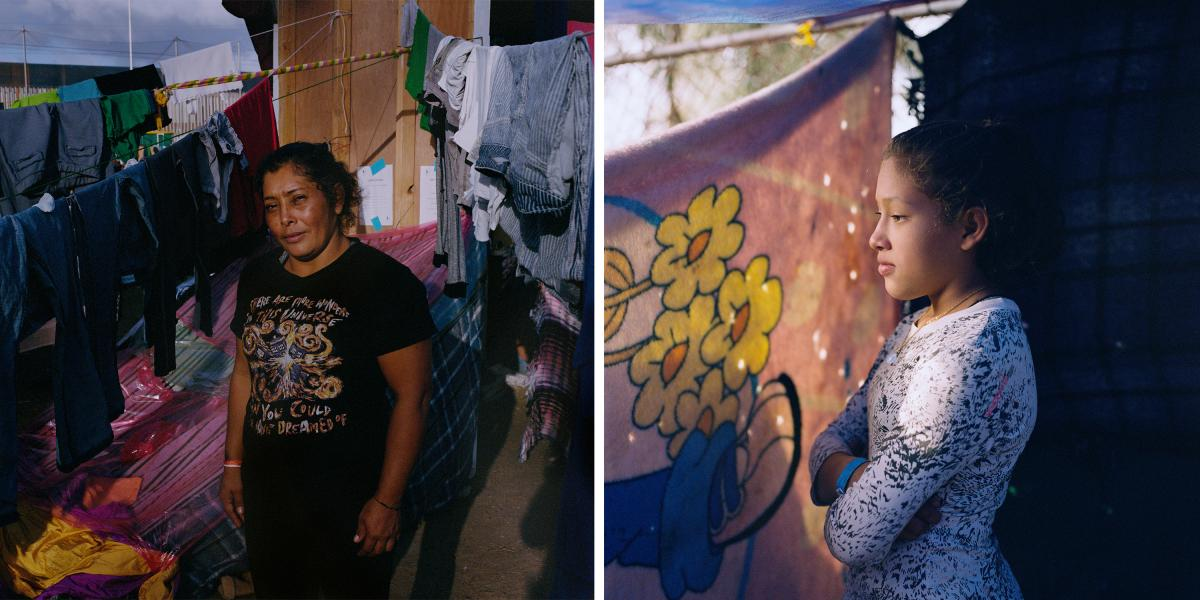 """Maria Lila Meza Castro, 39 (left), and one of her daughters, Jeimye Giselle Mejia Meza, 13. Meza Castro came to Mexico's border with the U.S. from San Pedro Sula, Honduras, with five of her nine children. """"[My husband] left my children and me homeless, be"""