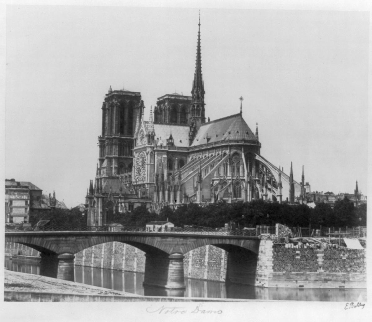 A picture of Notre-Dame Cathedral by Edouard Baldus in 1951.